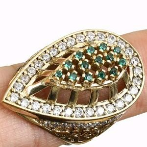 Bronze Emerald and White Topaz Ring